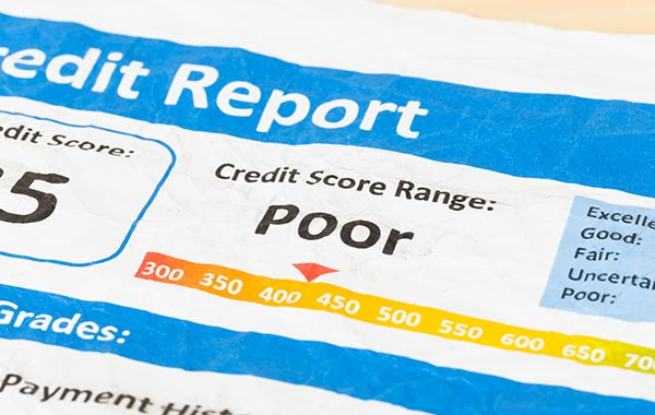 Credit report showing a low credit score